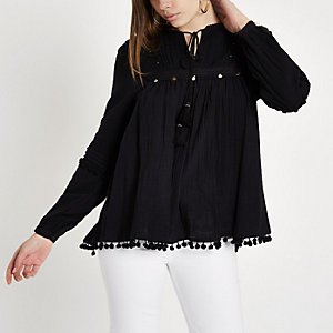 Black pom pom trim smock top
