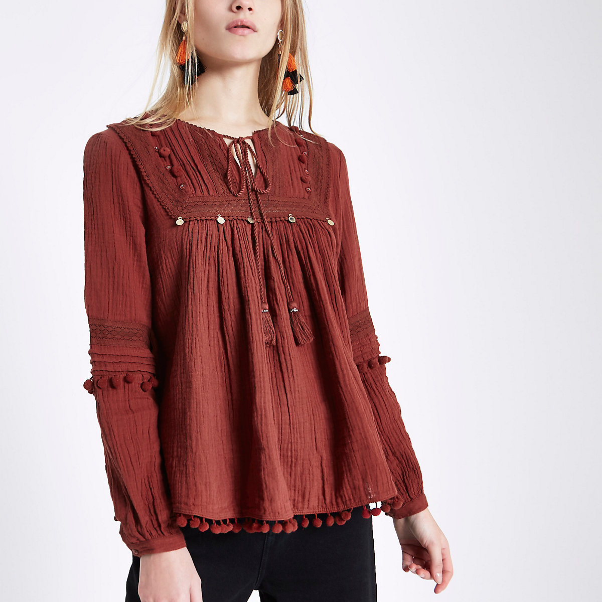 Dark red lace yoke pom pom tie neck top