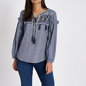 Blue lace-up front print smock top