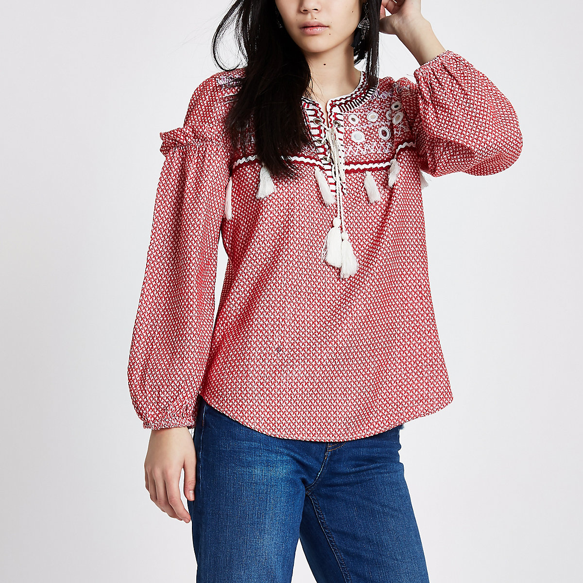 Red Lace Up Front Print Smock Top Blouses Tops Women