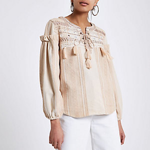 Cream broderie tie neck smock top