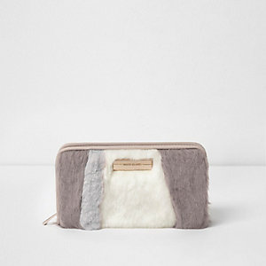 Cream faux fur panelled zip around purse