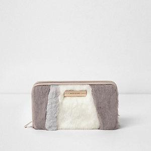 Cream faux fur panelled zip around purse