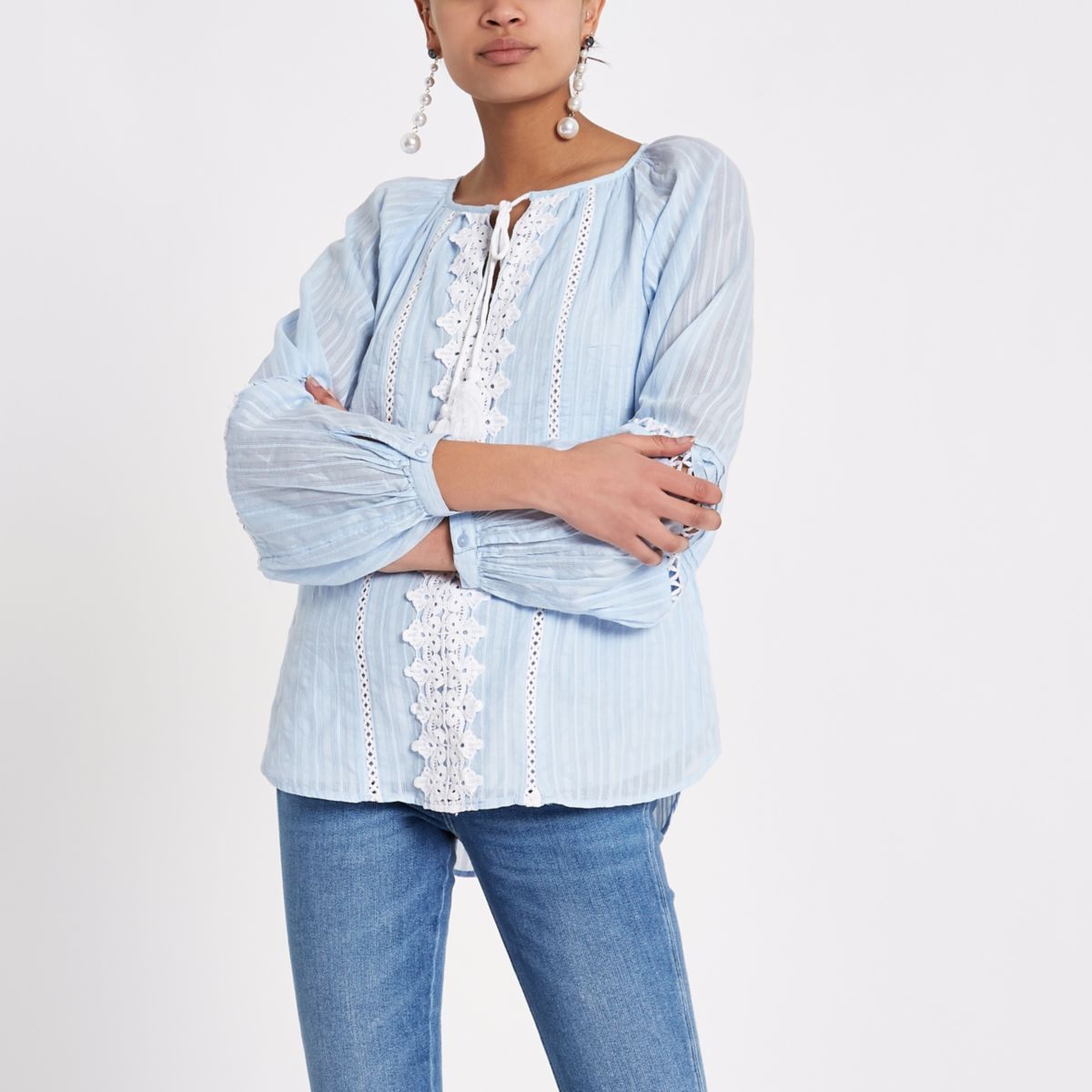 Light blue crochet tie neck smock top