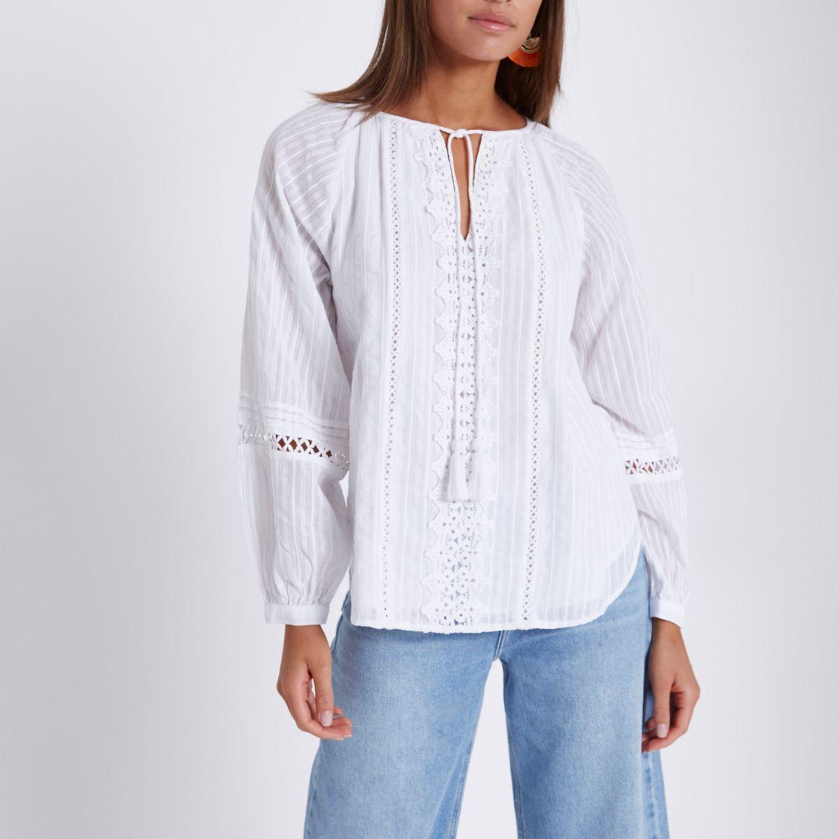 White crochet lace tassel tie neck smock top