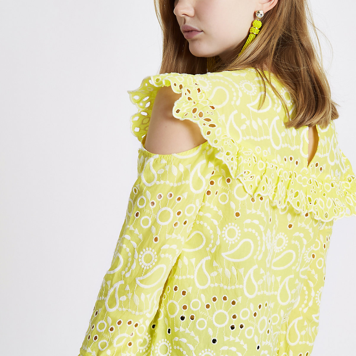 Yellow broderie frill bib top