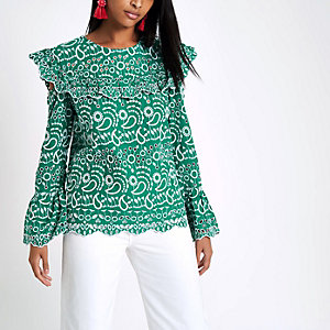 Green broderie frill bib top