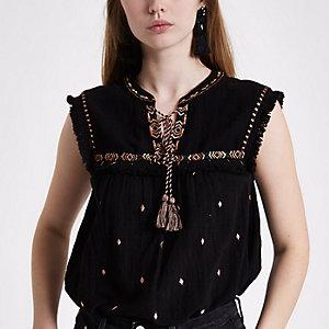 Black aztec embroidered sleeveless tassel top