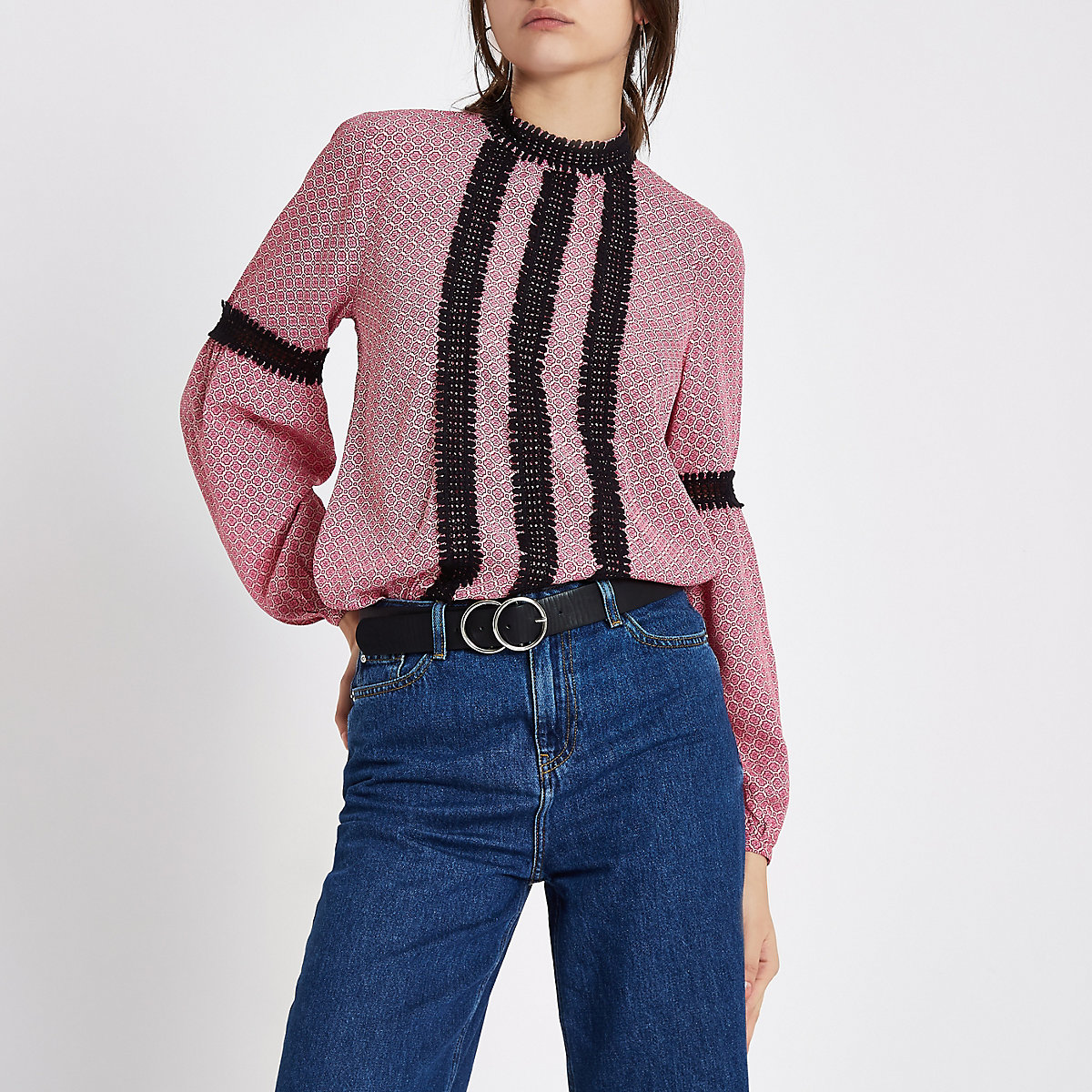 Pink tile lace trim high neck blouse