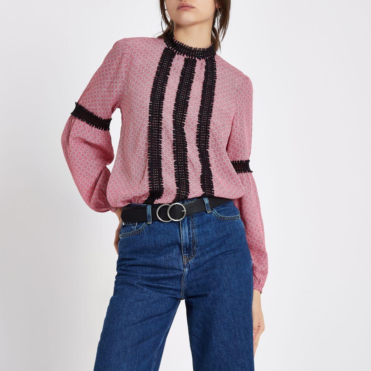 Pink tile lace trim high neck blouse