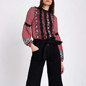Red tile print lace trim high neck blouse