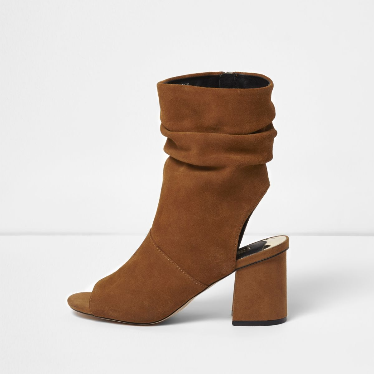Tan suede slouch shoe boots