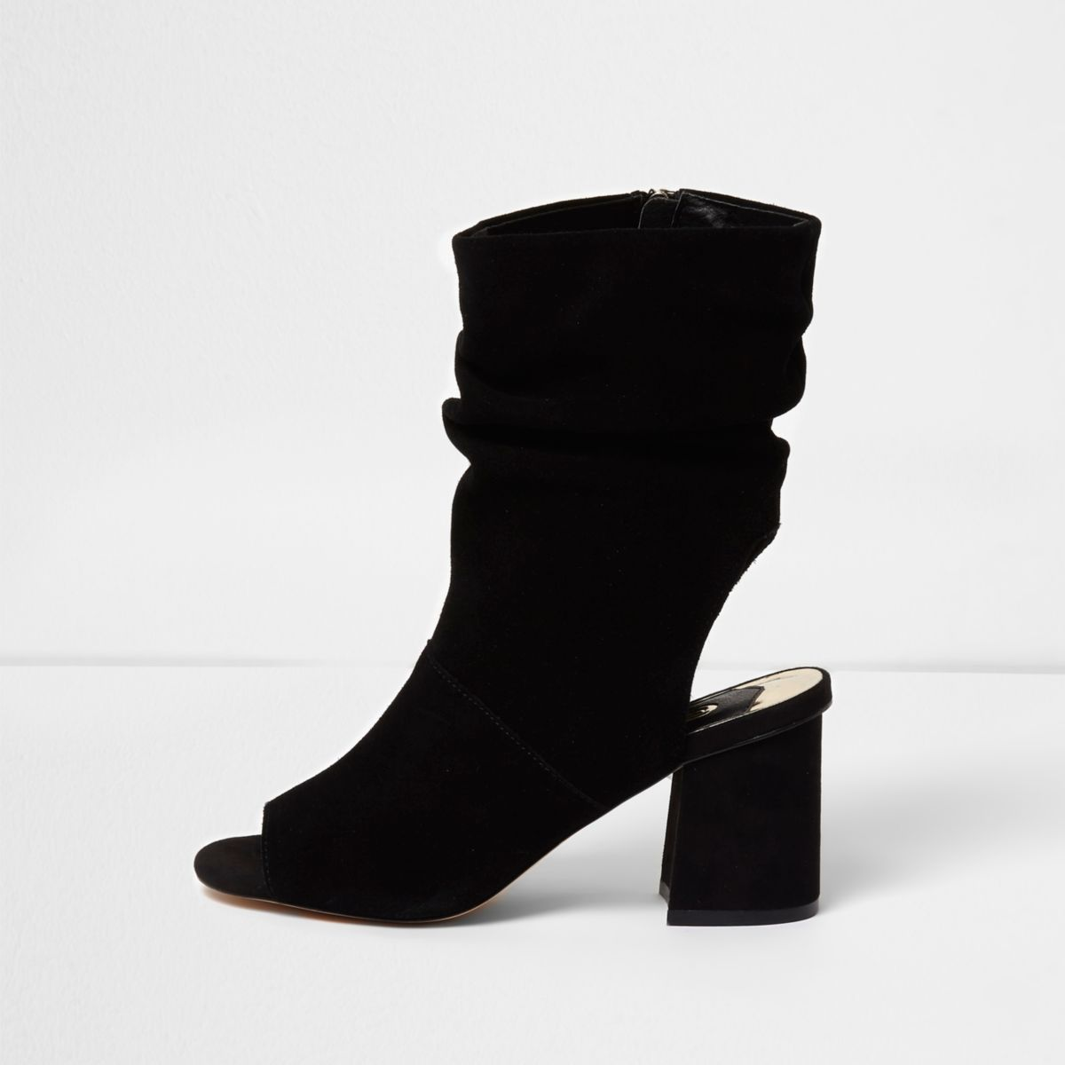 Black suede slouch shoe boots