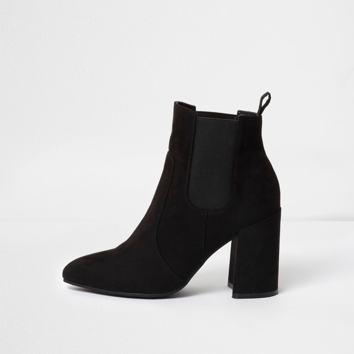 black pointed toe block heel chelsea boots boots shoes
