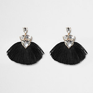 Black tassel fan rhinestone jewel earrings