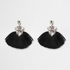 Black tassel fan diamante jewel earrings