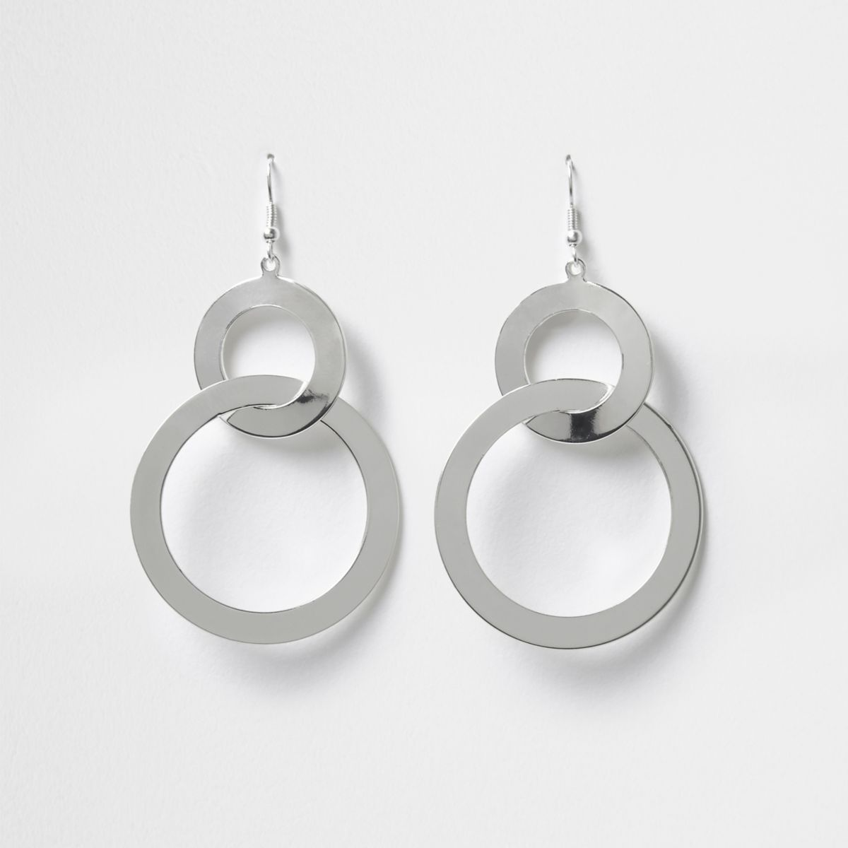 Silver tone double circle dangle earrings