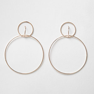 Rose gold tone double hoop drop earrings