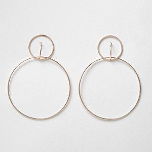 Rose gold tone double hoop drop earrings