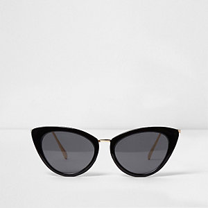 Black marble cat eye smoke lens sunglasses