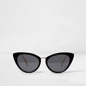 Zwart marmeren cat-eye-zonnebril met grijze glazen