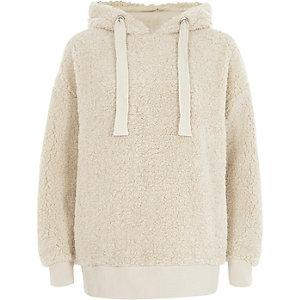 Fleece-Hoodie in Creme