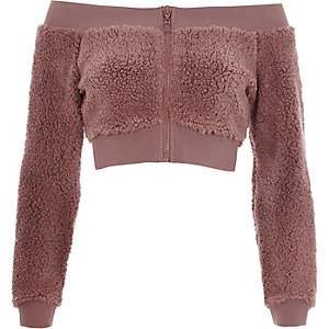 Pink fleece bardot zip-up crop top