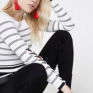 Petite navy stripe lace-up sides sweater
