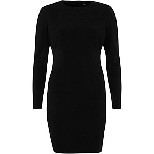 Black shoulder pad bodycon mini dress