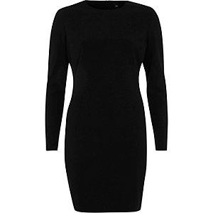 Robe courte moulante noire à épaulettes