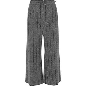 Grey stripe herringbone belted culottes