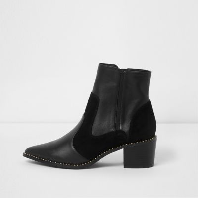 Black Leather Studded Boot