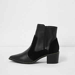 Black leather studded Western boots