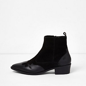 Black suede and leather western ankle boots