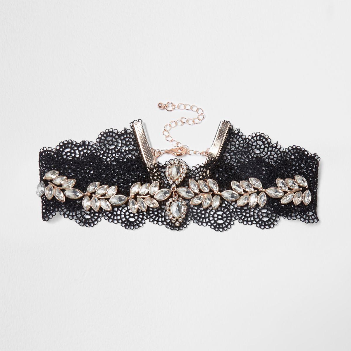 Black lace floral jewel embellished choker