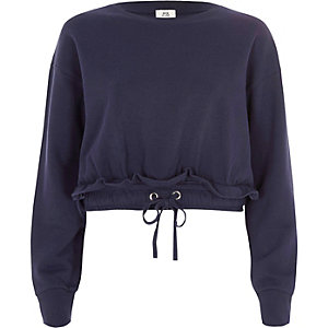 Navy ruched drawstring hem cropped sweatshirt