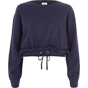 Marineblauw cropped sweatshirt met rimpeling en trekkoord in de zoom