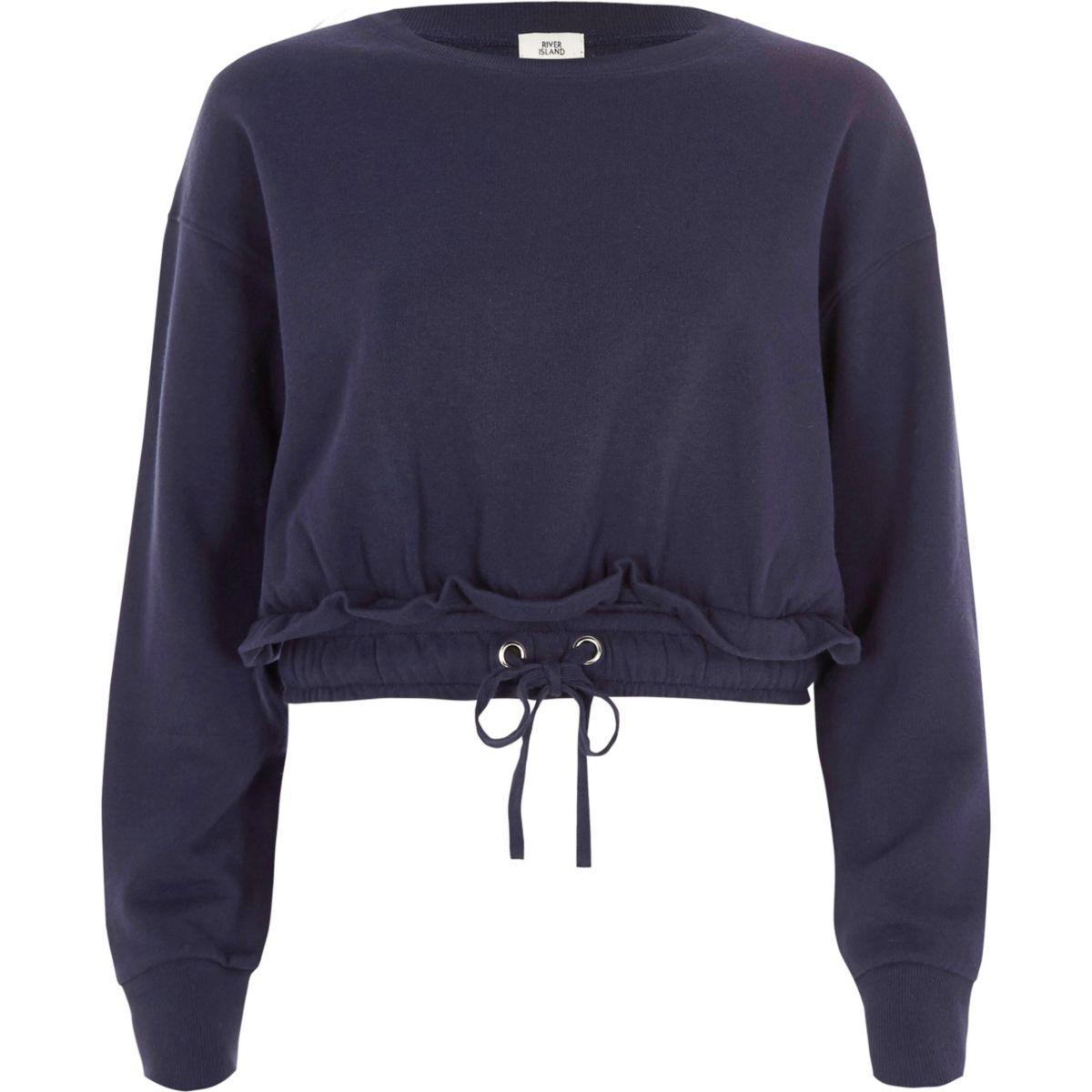 Navy ruched drawstring hem cropped sweatshirt