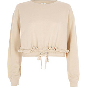 Beige ruched hem cropped sweatshirt