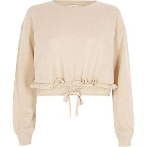Beige cropped sweatshirt met rimpeling bij de zoom