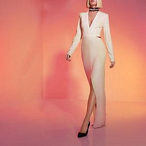 Cream RI Studio embellished choker maxi dress