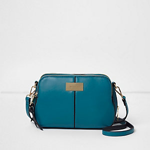 Teal blue triple compartment cross body bag