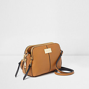 Tan triple compartment cross body bag