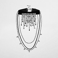 Black rhinestone drape choker necklace