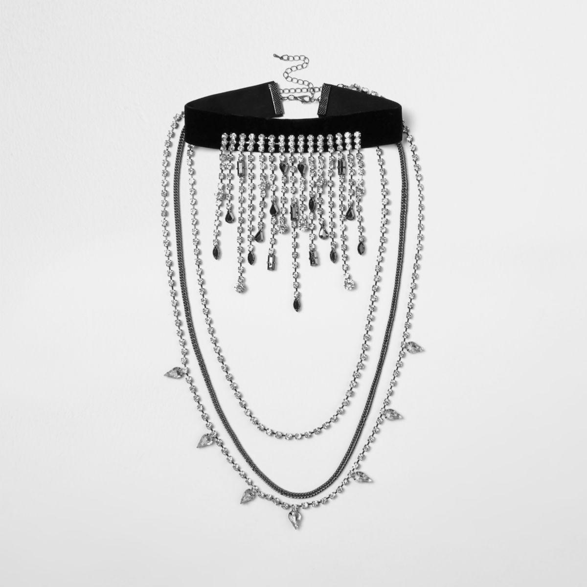 Black rhinestone drape choker necklace