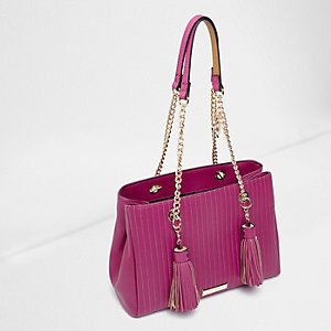 Pink quilted tassel chain tote bag