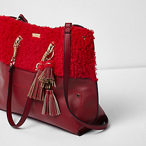 Red borg oversized chain shopper bag