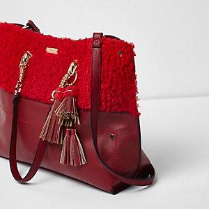 Red fleece oversized chain shopper