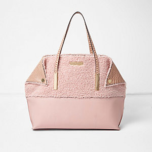 Pink oversized borg shopper tote bag