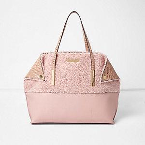 Roze oversized borg handtas